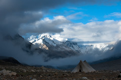 Nomad's Tent At Chomolungma (Amicus Telemarkorum) Tags: china mountain mountains nature weather june clouds tibet himalaya northface everest basecamp sagarmatha 2011 chomolungma jeffrueppelphotography