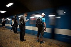 Ten Feet (Mike.Geiger.ca (Myke)) Tags: people station train underground subway waiting metro montreal tube platform existential commutors lostintheirownworld trainsmear