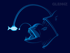 Outfished (Glennz Tees) Tags: fish art nerd fashion illustration design funny geek drawing humor cartoon tshirt illustrator draw popculture tee vector ai apparel adobeillustrator angler glenz glennjones glenjones glennz gleenz glennnz