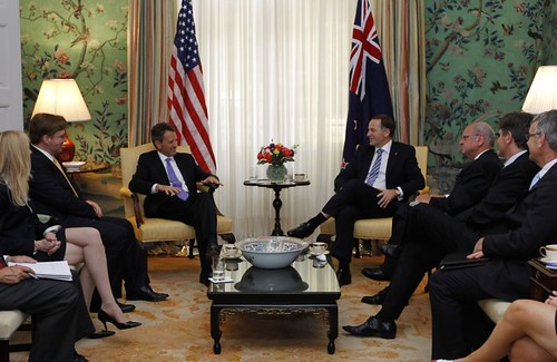 Secretary of the Treasury Timothy Geithner, left center, meets with New Zealand Prime Minister John Key, right center, at Blair House in Washington,  Thursday,  July 21, 2011.  (© AP Photo/Ann Heisenfelt)