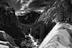 Vernal Falls Black and White (The Floh) Tags: bw water lens landscape waterfall nationalpark hiking fisheye yosemite software subject np nationalparks hdr activities lenses techniques vernalfalls speciallens naturesubjects lrenfuse specialeffectlens niksilverefex2