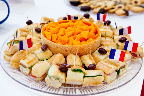 Assorted sandwiches and cheese to nibble on