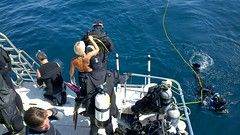 Ace I mission divers use tag-line against the current