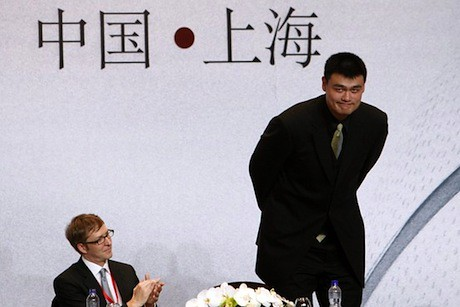 July 20th, 2011 - Yao Ming and Colin Pine at Yao's retirement press announcement