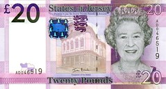 Front of Jersey £20 bank note 2011