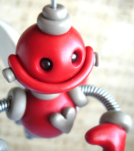 Red Rigby Angel Bot Robot Sculpture | Hanging Ornament  by HerArtSheLoves