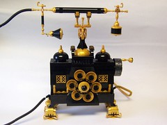 Ring Ring Lego phone (monsterbrick) Tags: gold phone lego victorian windup crank steampunk moc