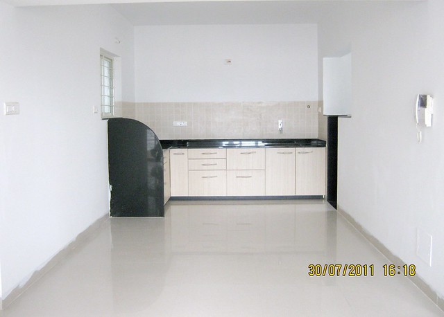 "Kitchen in Ready Possession 2 BHK Flat No. I 803 in Pethkar Projects' ""Balwantpuram Samrajya"", at Shivtirthnagar, Paud Road, Kothrud - Pune 411 038"