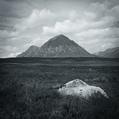 Echoes of Mountain-ness (ShinyPhotoScotland) Tags: light summer sky blackandwhite nature weather clouds manipulated square landscape photography scotland highlands focus pattern dof arty seasonal places gb glencoe acr stacked shapeform genrearty