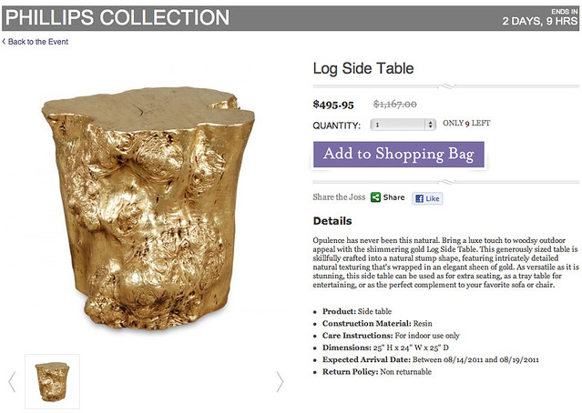 log side table + gold tree stump table + phillips collection at joss and main