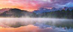 Colorful Dreaming (mibreit) Tags: lake mountains alps nature sunrise germany landscape bayern bavaria colorful natur berge alpen landschaft alpenglow karwendel geroldsee