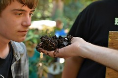 Quick sniff of the compost (ken.scarboro) Tags: school camp high woods worms sumer vermiculture composting 2011 westminter