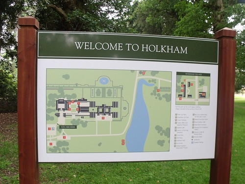 Welcome to Holkham Hall - sign / map