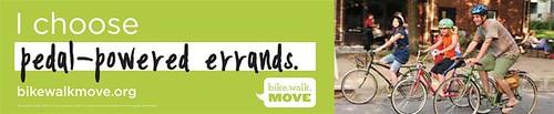 Biking promotion ad, bus shelter,  Bike Walk Move program, Minneapolis