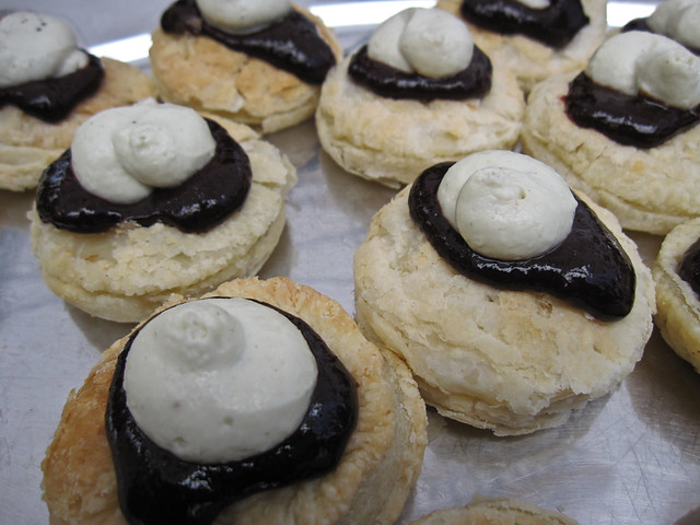 Cherry and balsamic tarts topped with Blue Claire mousse
