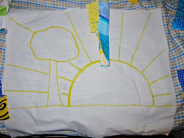 Sunshine wall hanging - the beginning