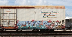 Asic over Crow (quiet-silence) Tags: railroad art train graffiti railcar etc crow graff capped freight reefer diss fr8 cryx asic cryo cryotrans cryx3120