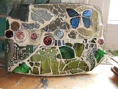 Eco Garden (Sand and Stars by Jess) Tags: art broken butterfly garden found bottles recycled mosaic board objects circuit eco coage