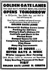 The opening of Golden Gate Lanes is announced in an ad from the Oakland Tribune on Sept. 7 1962.