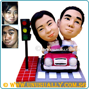 Custom 3D Couple In Lovely Car Figurines