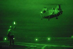 Royal Air Force Chinook Helicopter Lifts off From HMS Illustrious at Night (Defence Images) Tags: uk night ship military equipment vision british aircraftcarrier chinook defense carrier defence joint atsea cvs illustrious royalnavy hmsillustrious royalairforce homewaters triservice surfaceship invincibleclass 7squadron armysupport