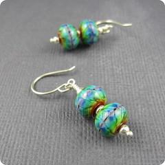Double Rainbow Earrings (TheJanie (Jane Hamill)) Tags: color colour glass happy blog rainbow soft spectrum handmade hippy jewellery bead earrings tiedye lampwork multi tiedie flamework focal effetre jewelrysterlingsilver