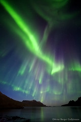 Attack of the Northern lights - Reykjarfjrur - NW of Iceland (Arnar Bergur) Tags: ocean sea sky mountains green water night canon stars landscape lights iceland 5d 28 northern arnar borealis westfjords 14mm auroa rokinon djupavik arneshreppur top20aurora visipix