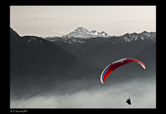 Paragliding!!! (AlpineEdge) Tags: birthday snow canada mountains silhouette fog fire flying jump kevin hiking smoke air wing pg hike alpine hanging fl elk tandem gliding ozone hardwork mtbaker chilliwack elkmountain lightweight paraglding ozonewing