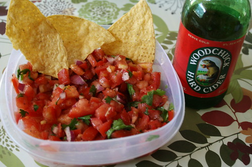 salsa, chips, Woodchuck hard cider