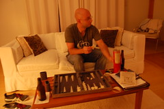 And tried to teach ourselves backgammon (kelly_rae) Tags: phil backgammon june2011