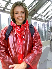 JA-10 (rainfash) Tags: red look jessica alba like actress imagine how would favourite raincoat