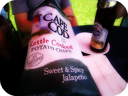 Delicious Cape Cod chips with free beer from local package store (yes, they will give thru-hikers a free beer of thier chosing!)