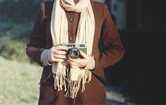we shoot analog (.nevara) Tags: camera winter portrait people woman brown film girl analog scarf beige holding hands bokeh tl coat super 400 praktica paradies