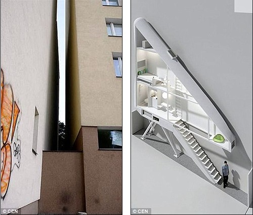 World's narrowest house which is crammed into an alleyway is just 60 INCHES wide and hasn't even got room for stairs 3