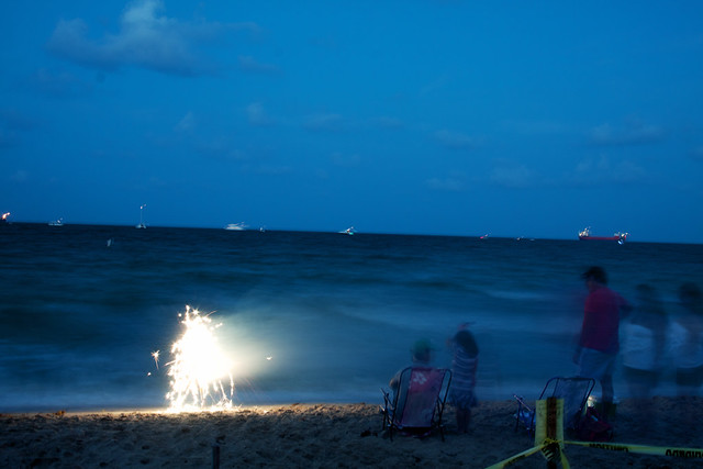 July 4th beach fireworks