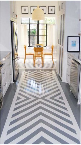 chevron painted floor galley kitchen