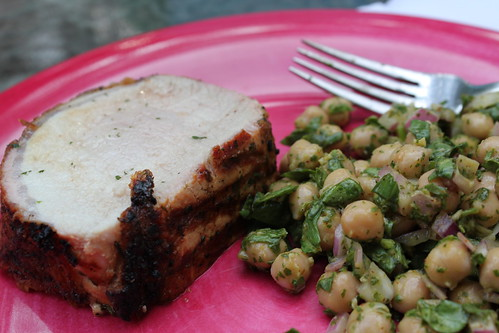 Pork loin and chick pea salad