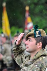 5 SCOTS Soldier Salutes Regimental Colours During Homecoming Parade in Dumbarton, Scotland (Defence Images) Tags: uk man male rain soldier army scotland military salute captain british dumbarton raining defense capt defence officer personnel saluting salutes theargyllandsutherlandhighlanders identifiable 5scots theroyalregimentofscotland thescottishdivision 5thbntheroyalregimentofscotland