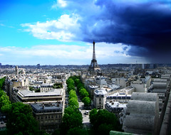 View from Arc of Triumph, Paris. (Shady_Myskus) Tags: city travel sky storm paris france architecture clouds canon buildings europe cityscape view eiffeltower roads larcdetriomphe arcoftriumph canoneos550d