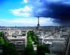 View from Arc of Triumph, Paris. (Shady_Myskus) Tags: city travel sky storm paris france architecture clouds canon buildings europe cityscape view eiffeltower roads larcdetriomphe arcoftriumph canoneos550d