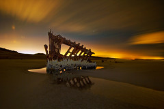 Peter Iredale Long Exposure (David Gn Photography) Tags: statepark longexposure seascape reflection beach landscape raw sandy pacificocean oregoncoast nightsky lowtide fortstevens peteriredale canonspeedlite580exii canoneos7d sigma1020mmf35exdchsm sigma50th