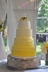 White to Yellow Fading Wedding Cake (DiamondEvents) Tags: flowers wedding yellow cake silver photography design virginia photographer outdoor 4 gray award tent best reception roanoke va round florist capture decor chiavari luxury winning tier sundara roa featured coordinator stylemepretty diamondevents