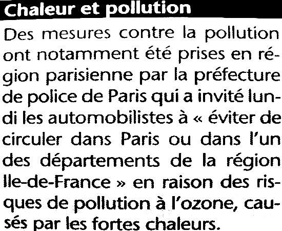 pollution lors des fortes chaleurs de juillet 2003 météopassion