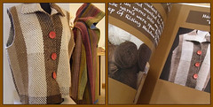 Hand-weaving and Clothing Designed and Constructed (mystuart) Tags: red brown white wool nc clothing fdsflickrtoys diptych mosaic buttons stripes crafts jacket printing cloak vest cloth weaving publication hcc designed hooded constructed brp 2011 folkartcenter melystu milepost382