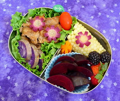 Purple Flowers Bento (sherimiya ) Tags: summer chicken tomato kid corn strawberry sheri carrot bento blackberries obento pluot okinawansweetpotato purplecarrot sherimiya lunchbot