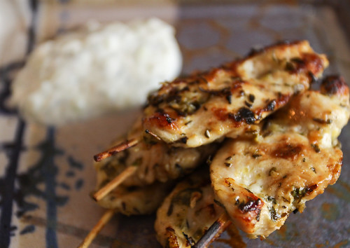 Chicken Souvlaki with Cucumber Yogurt Sauce