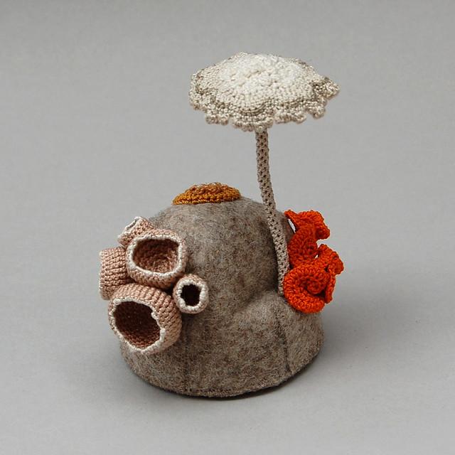 Crochet and felt forest fungi