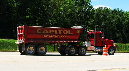 Capitol Cement Company Peterbuilt conventional tractor and short dump trailer.  Bannockburn Illinois USA. July 2011. by Eddie from Chicago