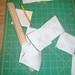 Chain stitched half triangles
