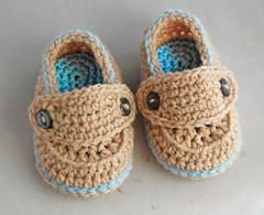 Baby Loafers (BootiesByDannie) Tags: birthday christmas blue brown handmade crochet tan gift button booties babybooties loafers folksybaby